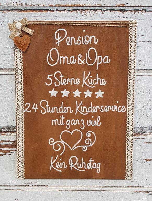 Schild Pension Oma und Opa 5 Sterne Küche ca.40x30cm
