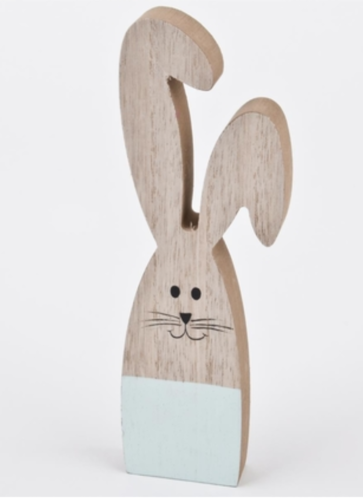Hase stehend Holz natur-mint